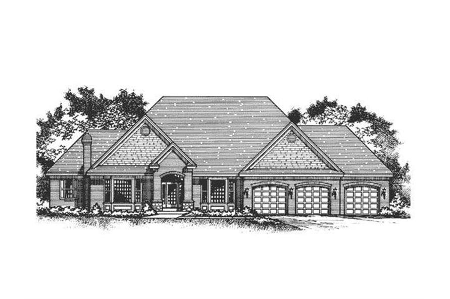 Home Plan Front Elevation of this 3-Bedroom,6509 Sq Ft Plan -165-1122