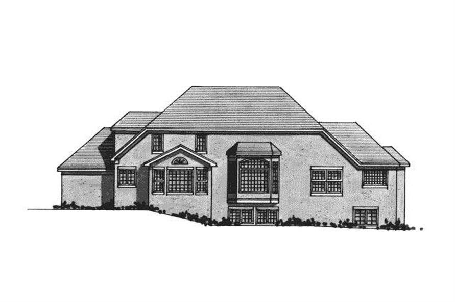 Home Plan Rear Elevation of this 3-Bedroom,2711 Sq Ft Plan -165-1123