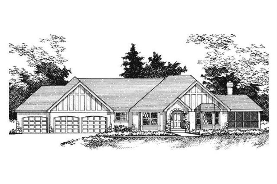 Home Plan Front Elevation of this 4-Bedroom,3222 Sq Ft Plan -165-1124