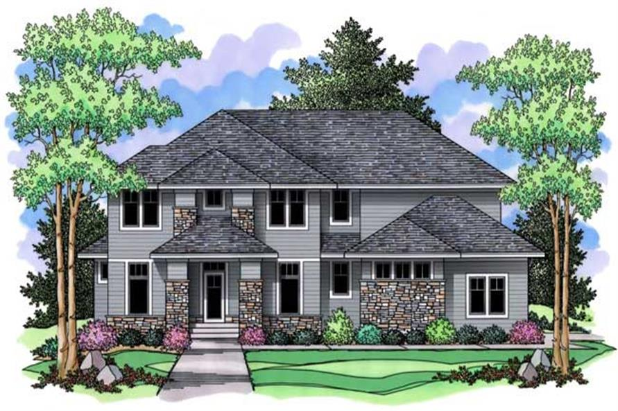 Houseplans CLS-3121 colored front elevation.