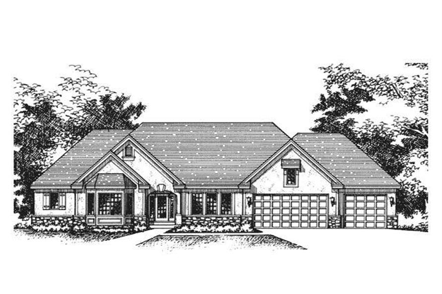 This image shows the Front View of Ranch Home Plans CLS-4300.