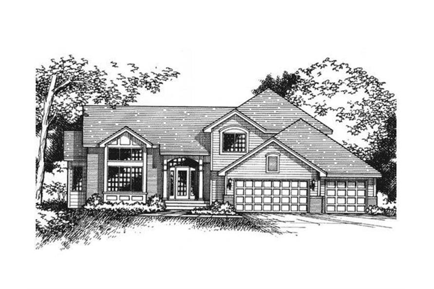 Home Plan Front Elevation of this 4-Bedroom,2269 Sq Ft Plan -165-1135