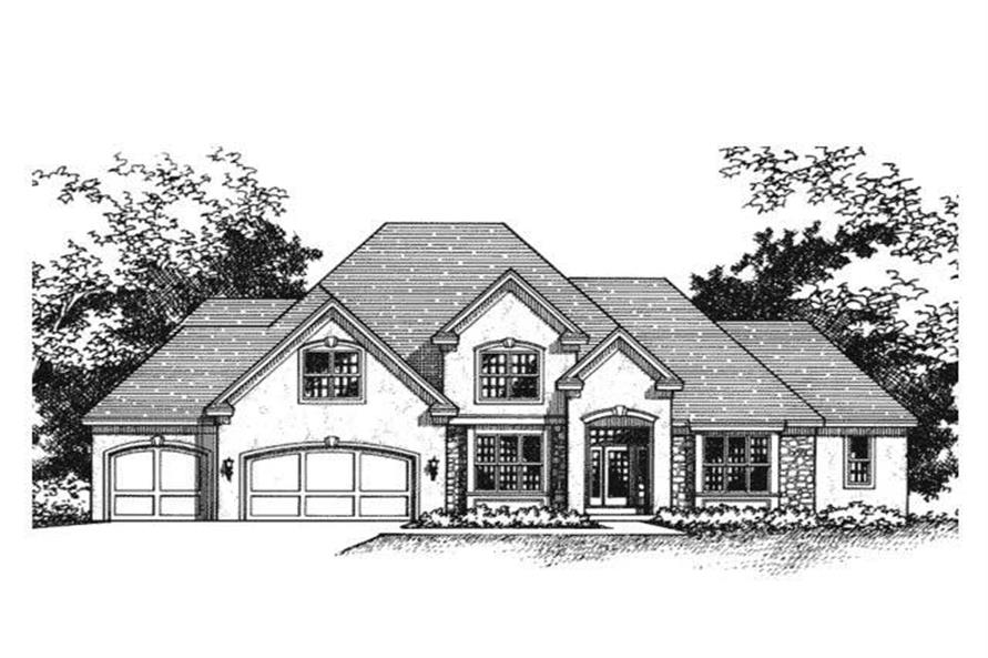 This image shows the front elevation of these European House Plans (CLS-2801).