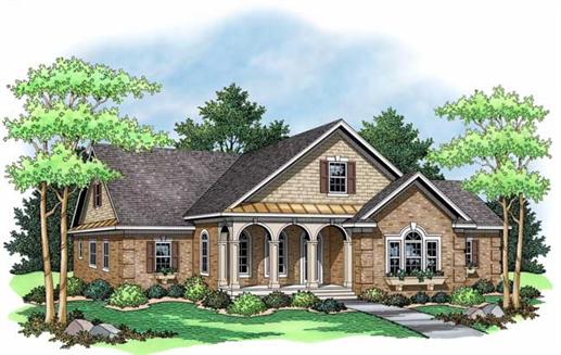 This image shows the front elevation of these country home plans 165-1142.
