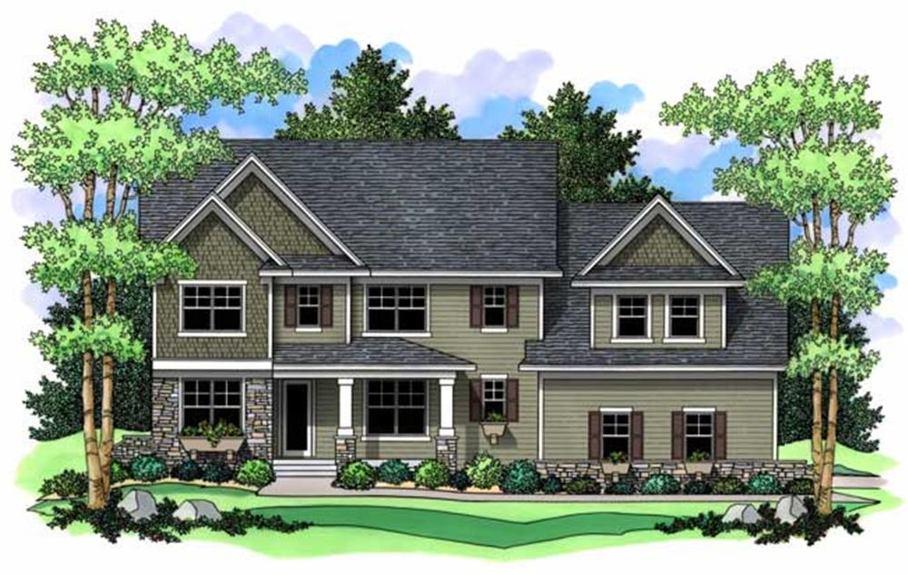 Country House Plans  colored rendering.