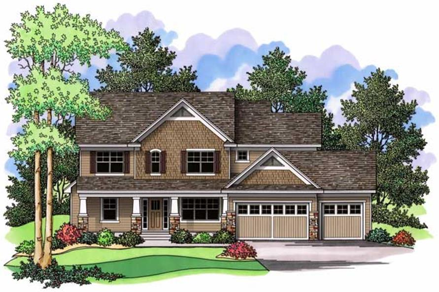 Colored rendering for Country Homeplans CLS-2918.