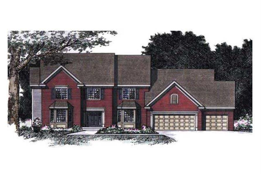 5-Bedroom, 3449 Sq Ft Colonial Home Plan - 165-1148 - Main Exterior