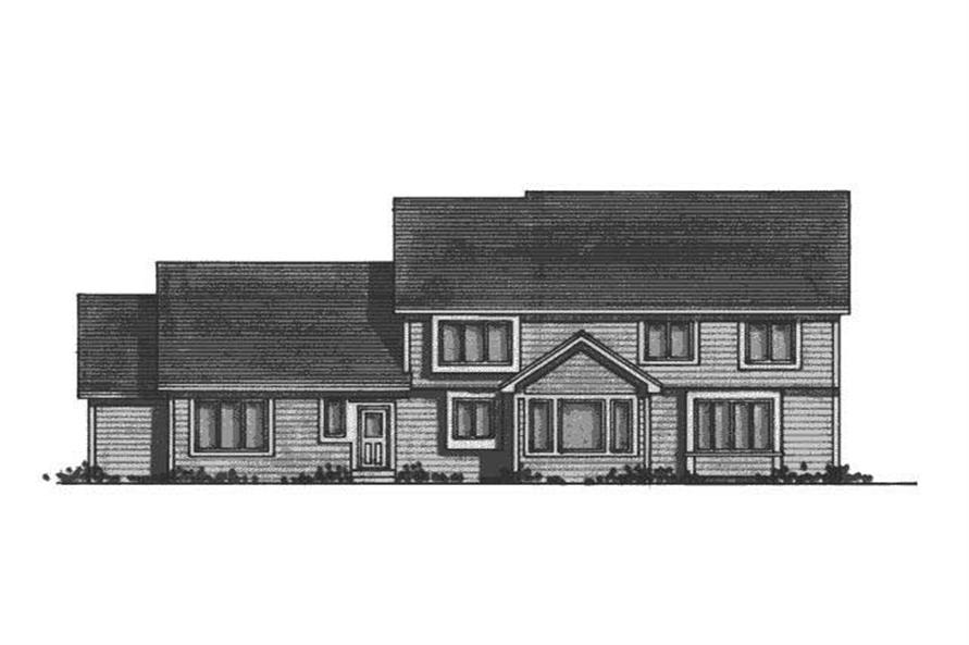 Home Plan Rear Elevation of this 5-Bedroom,3449 Sq Ft Plan -165-1148
