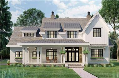4-Bedroom, 2862 Sq Ft Farmhouse House Plan - 165-1182 - Front Exterior