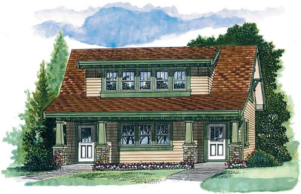 Front elevation of Craftsman home (ThePlanCollection: House Plan #167-1008)