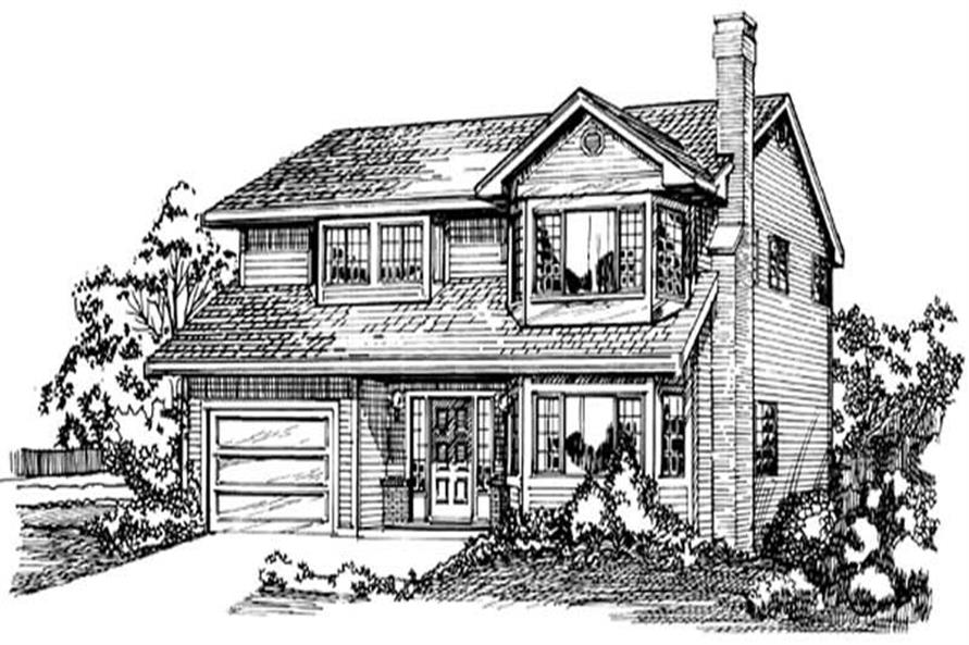 Front Elevation of this 3-Bedroom,1396 Sq Ft Plan -1396
