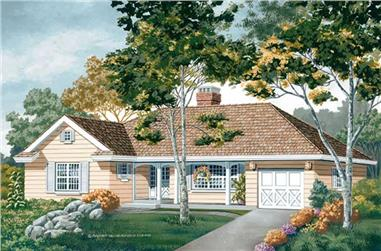 3-Bedroom, 1471 Sq Ft Country Home Plan - 167-1015 - Main Exterior