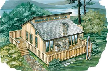 2-Bedroom, 936 Sq Ft Log Cabin House Plan - 167-1021 - Front Exterior