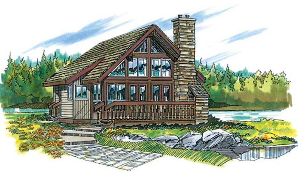 Front elevation of Log Cabin home (ThePlanCollection: House Plan #167-1022)