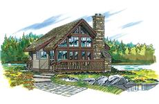 Log Cabins Front Elevation.