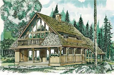 4-Bedroom, 1708 Sq Ft Log Cabin House Plan - 167-1023 - Front Exterior