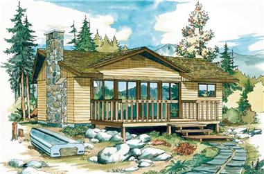 2-Bedroom, 988 Sq Ft Log Cabin House Plan - 167-1025 - Front Exterior
