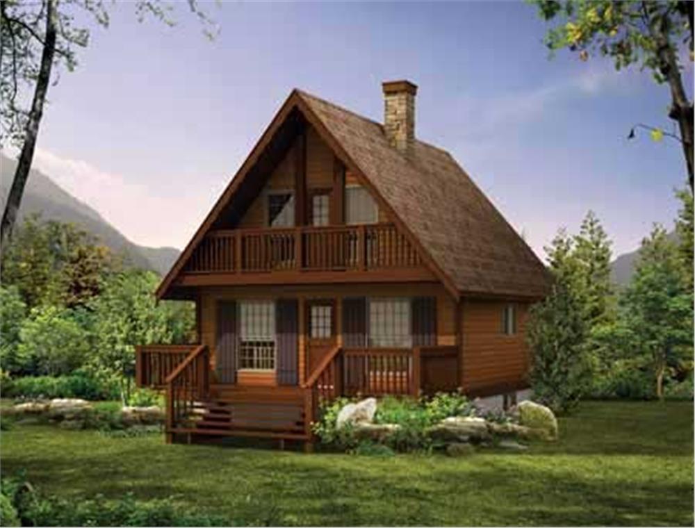 Log Cabins Home Design Front Elevation.