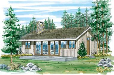 3-Bedroom, 950 Sq Ft Log Cabin House Plan - 167-1028 - Front Exterior