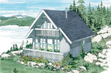 3-Bedroom, 1381 Sq Ft Log Cabin House Plan - 167-1038 - Front Exterior