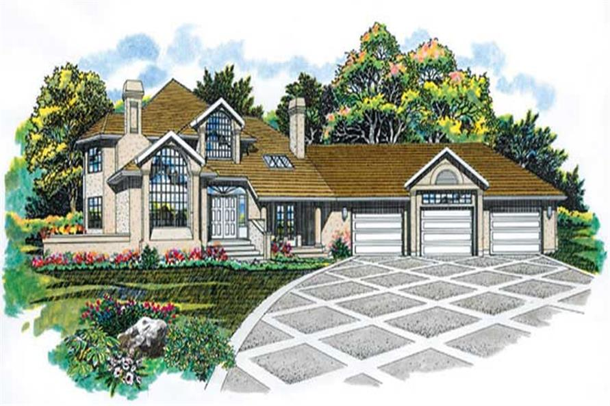3-Bedroom, 3427 Sq Ft Contemporary House Plan - 167-1046 - Front Exterior