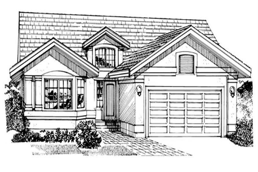 3-Bedroom, 1501 Sq Ft Small House Plans - 167-1050 - Front Exterior