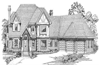 4-Bedroom, 4088 Sq Ft European House Plan - 167-1058 - Front Exterior