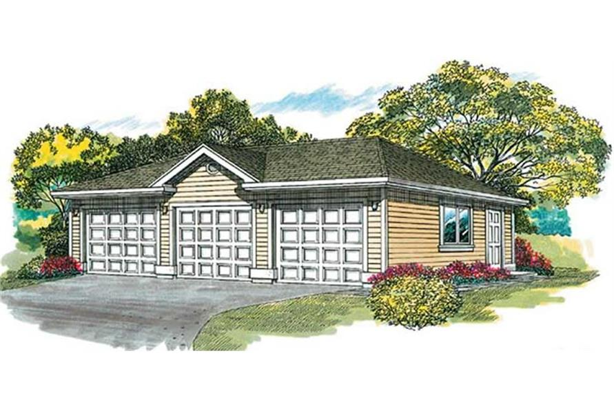 167-1070: Home Plan Rendering-Garage