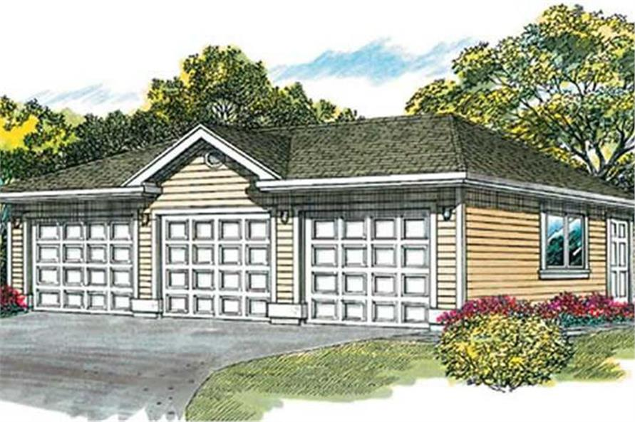 Color rendering of Garage plan (ThePlanCollection: House Plan #167-1070)