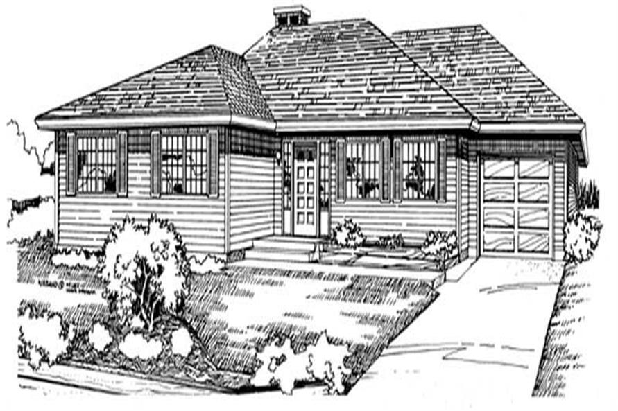 3-Bedroom, 1404 Sq Ft Ranch House Plan - 167-1071 - Front Exterior