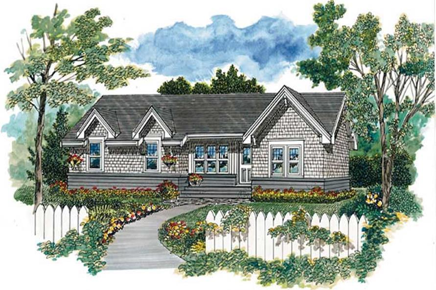 1-Bedroom, 604 Sq Ft Log Cabin House Plan - 167-1082 - Front Exterior