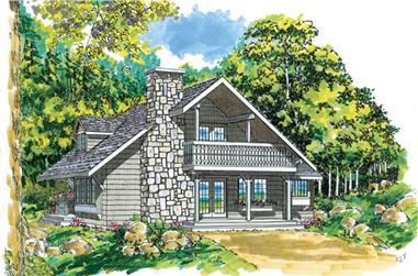3-Bedroom, 1670 Sq Ft Log Cabin House Plan - 167-1086 - Front Exterior