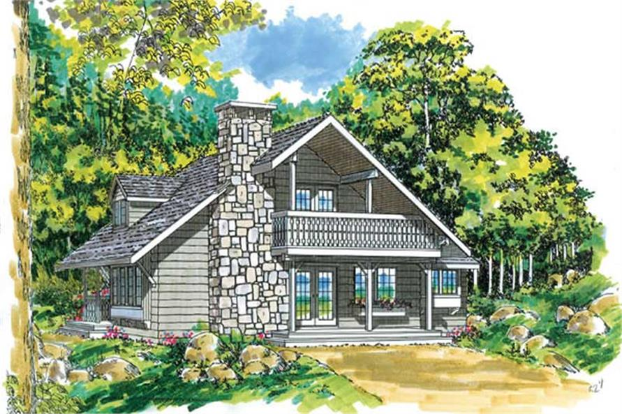 3-Bedroom, 1670 Sq Ft Log Cabin House Plan - 167-1086 - Front Exterior