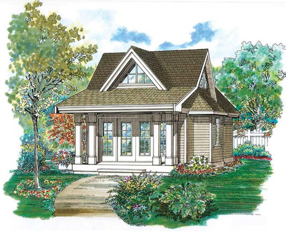 Front elevation of Craftsman home (ThePlanCollection: House Plan #167-1087)