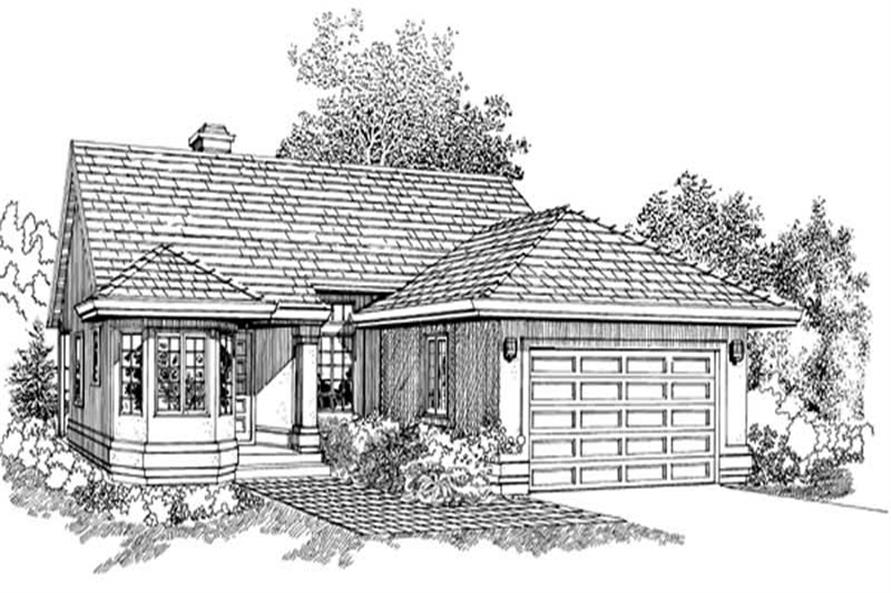 3-Bedroom, 1328 Sq Ft Contemporary House Plan - 167-1088 - Front Exterior