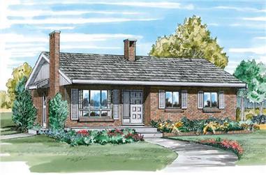3-Bedroom, 1054 Sq Ft Ranch Home Plan - 167-1096 - Main Exterior