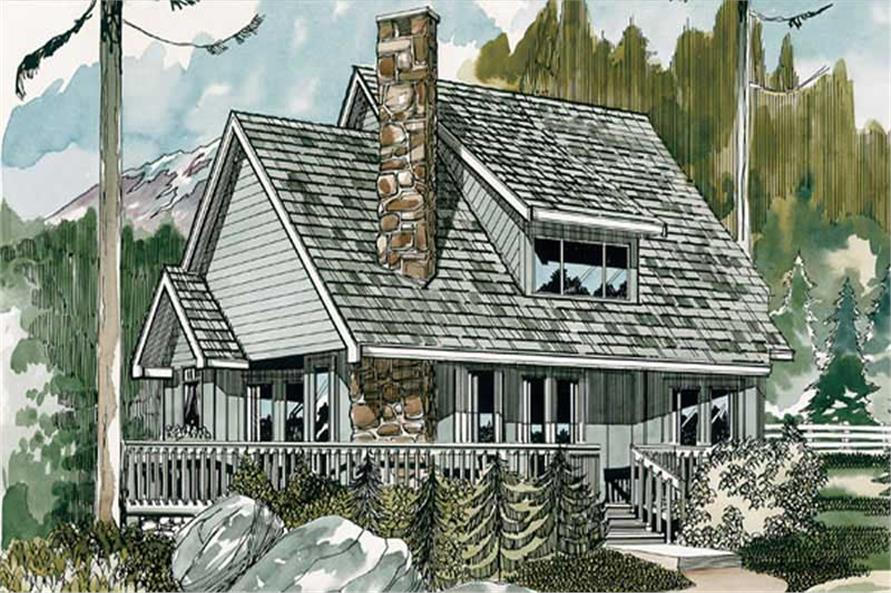 3-Bedroom, 1573 Sq Ft Log Cabin House Plan - 167-1097 - Front Exterior