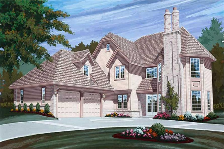 3-Bedroom, 2684 Sq Ft European House Plan - 167-1103 - Front Exterior