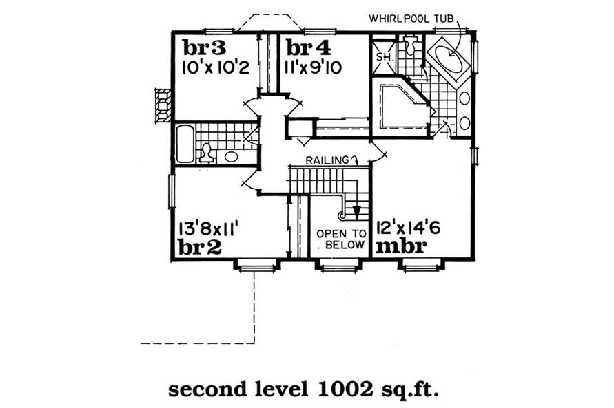 Upper Level Floor Plan of this 4-Bedroom,1938 Sq Ft Plan -1938