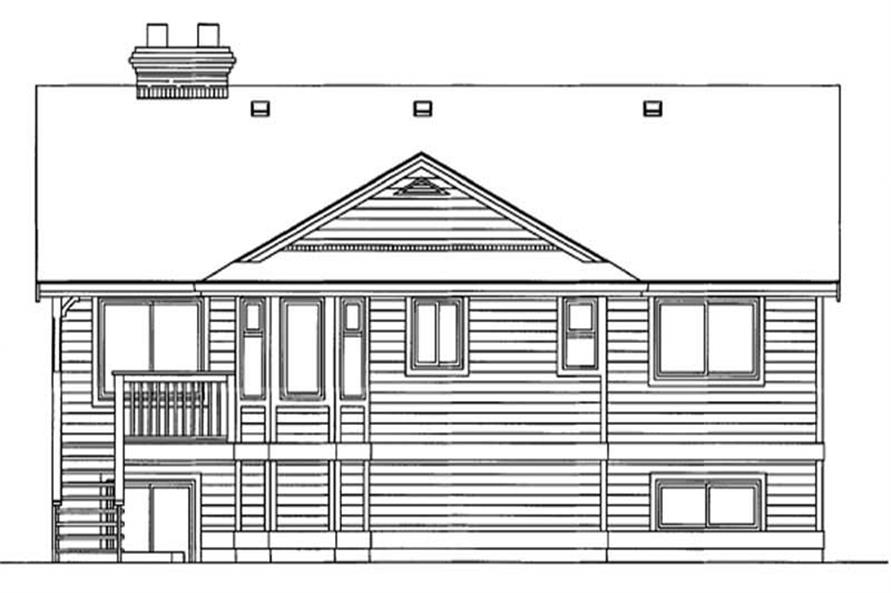 Home Plan Rear Elevation of this 3-Bedroom,1475 Sq Ft Plan -167-1133
