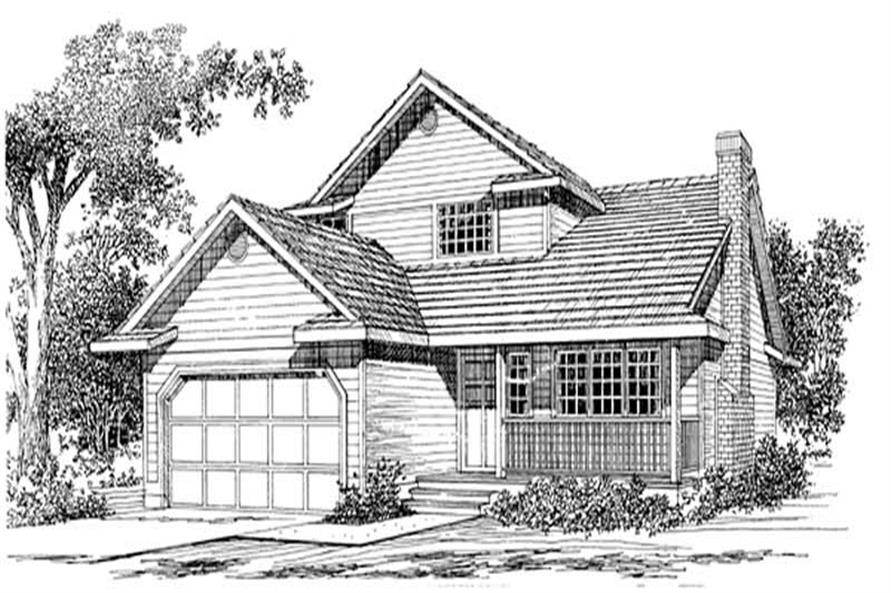 3-Bedroom, 1555 Sq Ft Country Home Plan - 167-1134 - Main Exterior