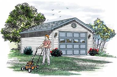 Artist's rendering of Garage home (ThePlanCollection: House Plan #167-1147)