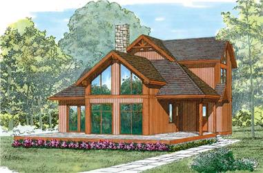 3-Bedroom, 1783 Sq Ft Log Cabin Home Plan - 167-1150 - Main Exterior
