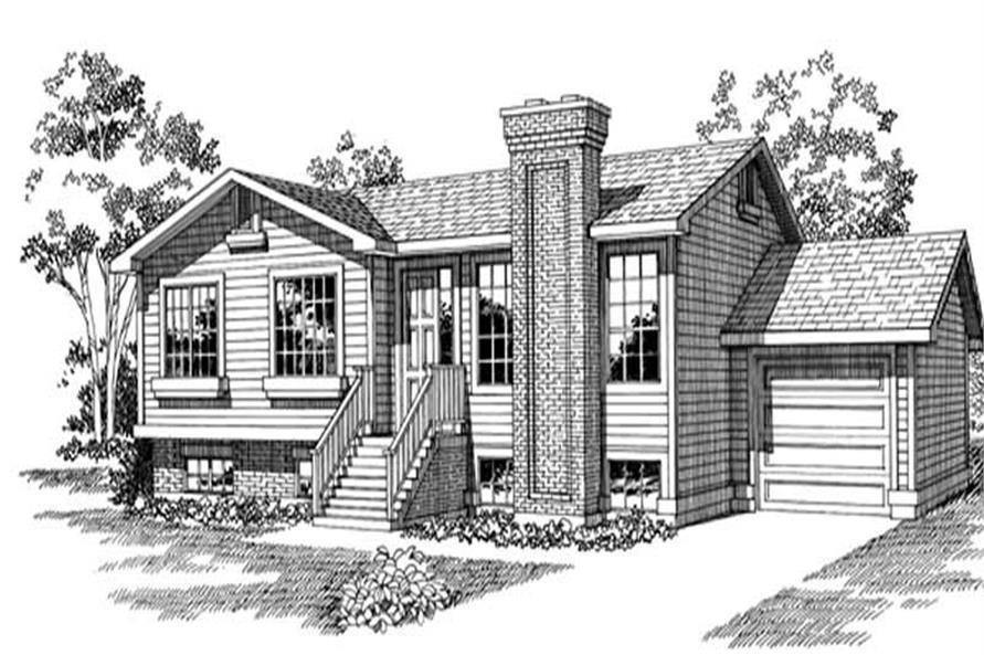 Front Elevation of this 3-Bedroom,1040 Sq Ft Plan -1040