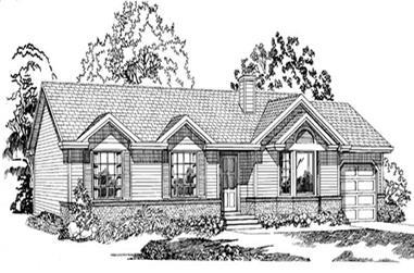 3-Bedroom, 1489 Sq Ft Ranch Home Plan - 167-1170 - Main Exterior