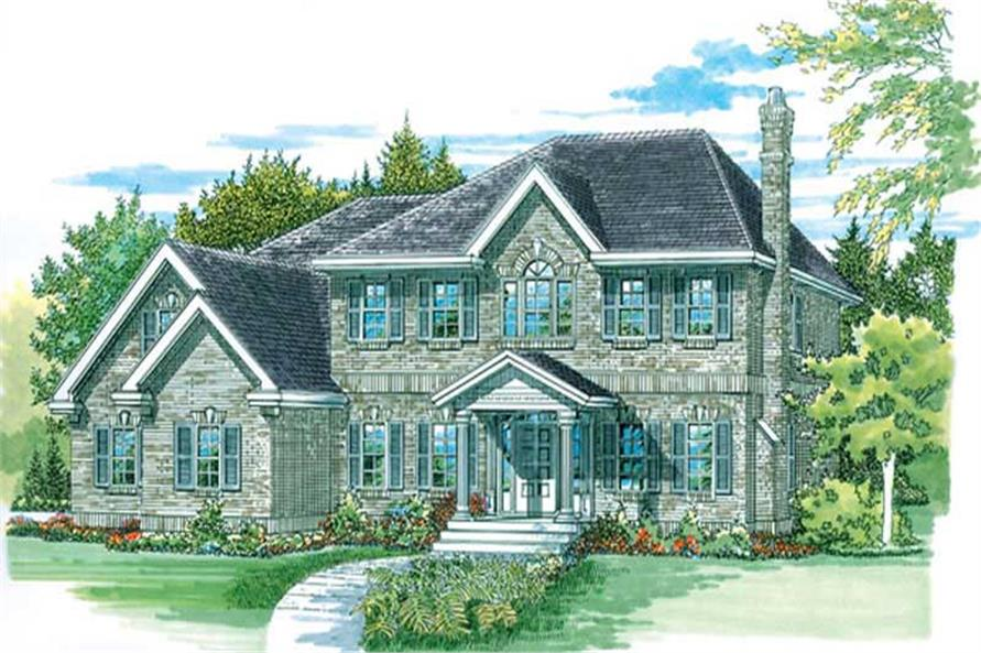 4-Bedroom, 2552 Sq Ft Colonial Home Plan - 167-1181 - Main Exterior