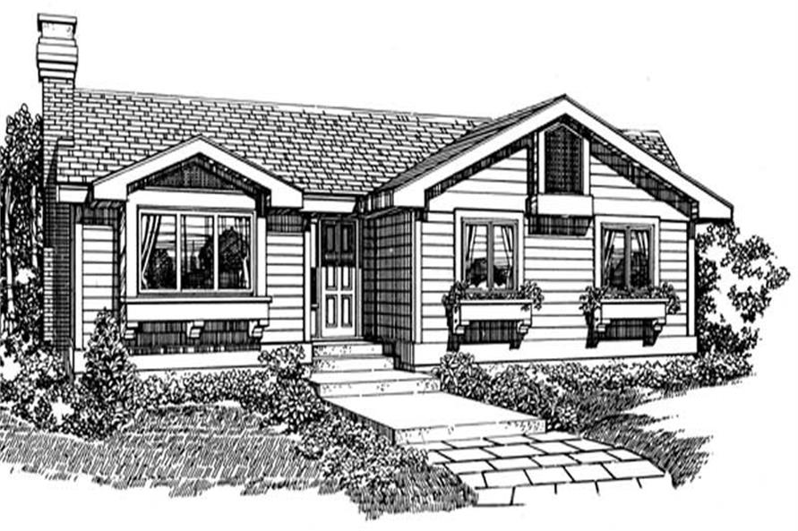 Front Elevation of this 3-Bedroom,1253 Sq Ft Plan -1253