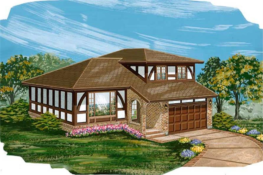 4-Bedroom, 1939 Sq Ft Tudor House Plan - 167-1203 - Front Exterior