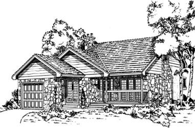 3-Bedroom, 1318 Sq Ft Country House Plan - 167-1206 - Front Exterior