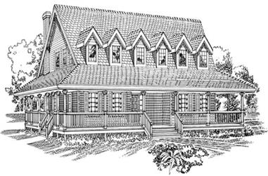 3-Bedroom, 2368 Sq Ft Country Home Plan - 167-1214 - Main Exterior
